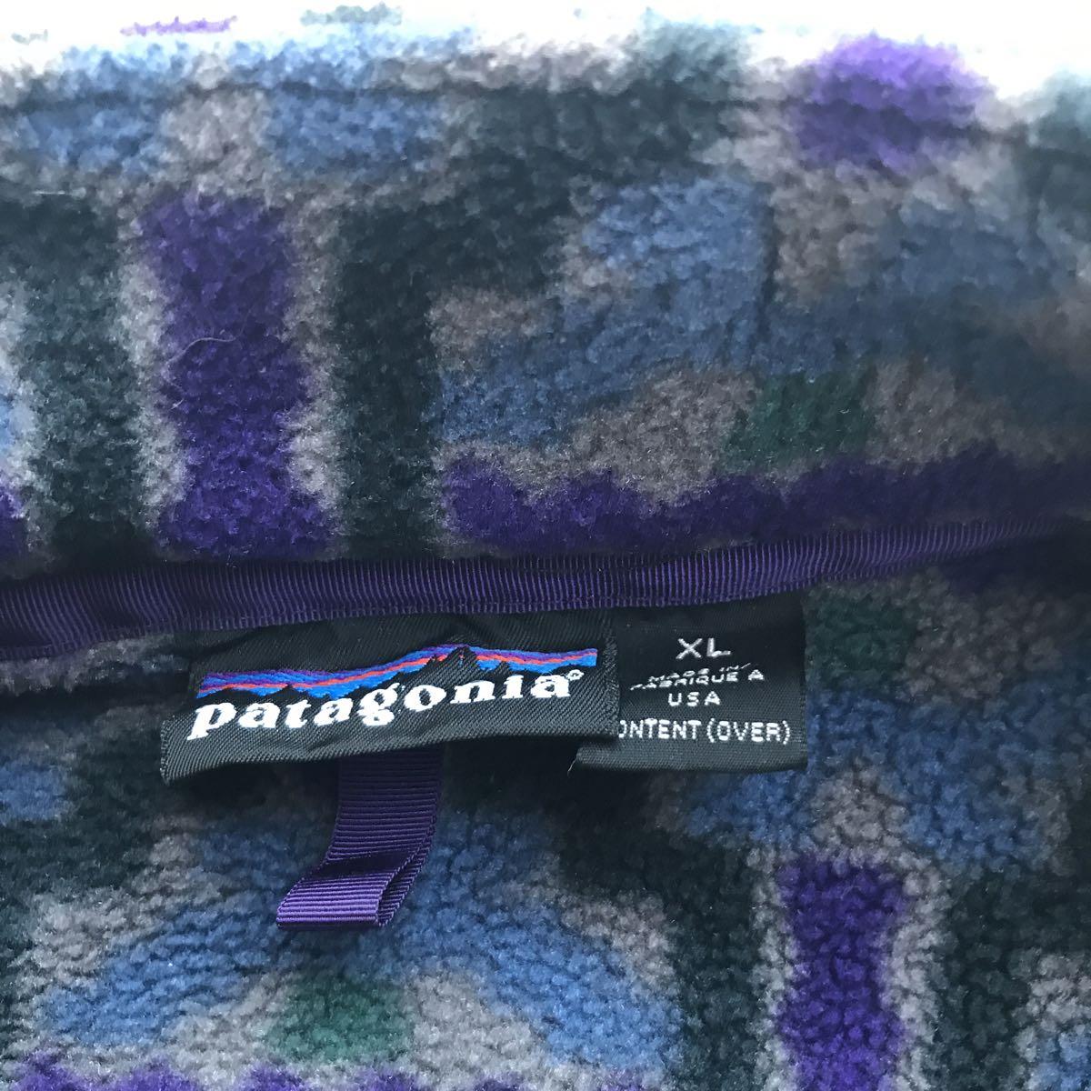 【雪無し】パタゴニア patagonia プリンテッド シンチラ スナップT 93年USA製 サイズ XL テウルチェ/グレー柄 検 レトロ ダス_画像4