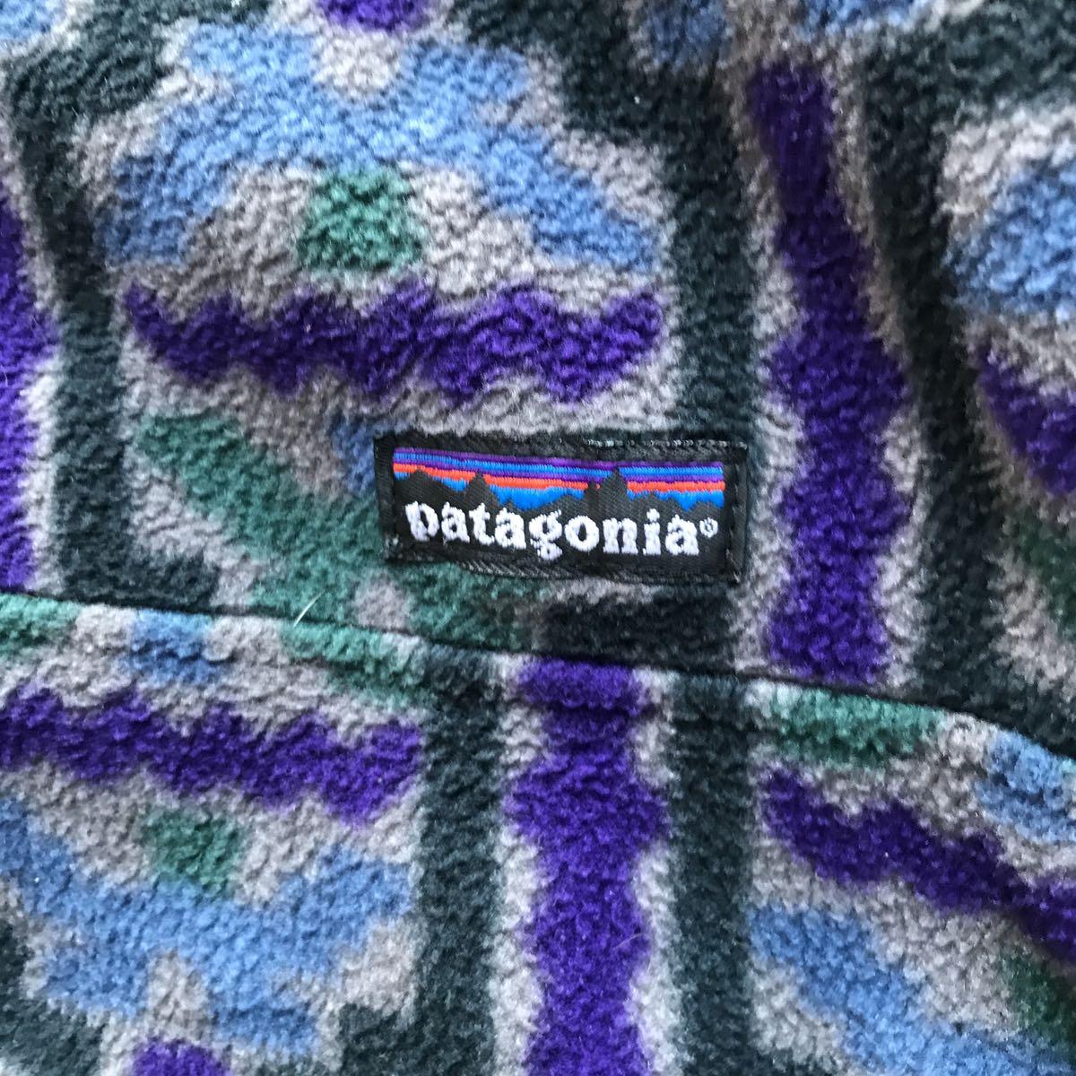 【雪無し】パタゴニア patagonia プリンテッド シンチラ スナップT 93年USA製 サイズ XL テウルチェ/グレー柄 検 レトロ ダス_画像2