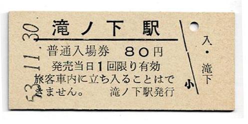 国鉄 渚滑線 滝ノ下駅 80円入場券 パンチなし 昭和53年