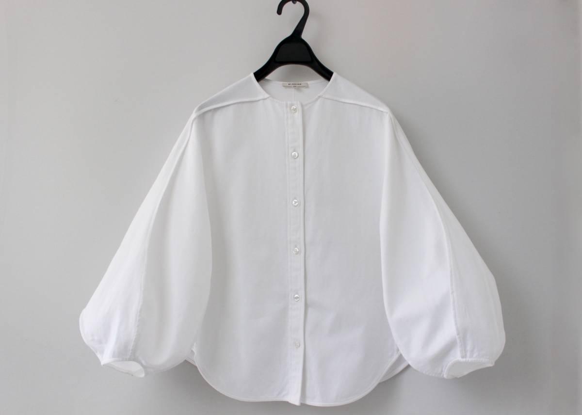 17ss BLAMINK ブラミンク バルーンスリーブブラウス ノーカラーシャツ