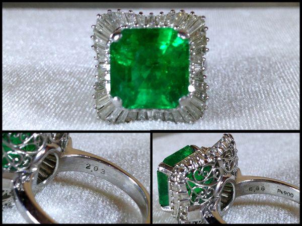 エメラルド 大粒 6.86ct ダイヤモンド 68個 2.03ct Pt900 プラチナ リング 指輪 15.45g 鑑別書付 最高級 緑石 極上 宝石 1000万円 購入 品