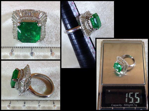 エメラルド 大粒 6.86ct ダイヤモンド 68個 2.03ct Pt900 プラチナ リング 指輪 15.45g 鑑別書付 最高級 緑石 極上 宝石 1000万円 購入 品_画像7