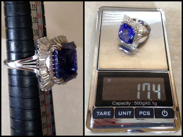 特大 ブルー ゾイサイト 14.44カラット ダイヤモンド 42個 計 2.24ct プラチナ Pm900 リング 指輪 17.4g 鑑別書付 昭和56年 500万円 購入品_画像7