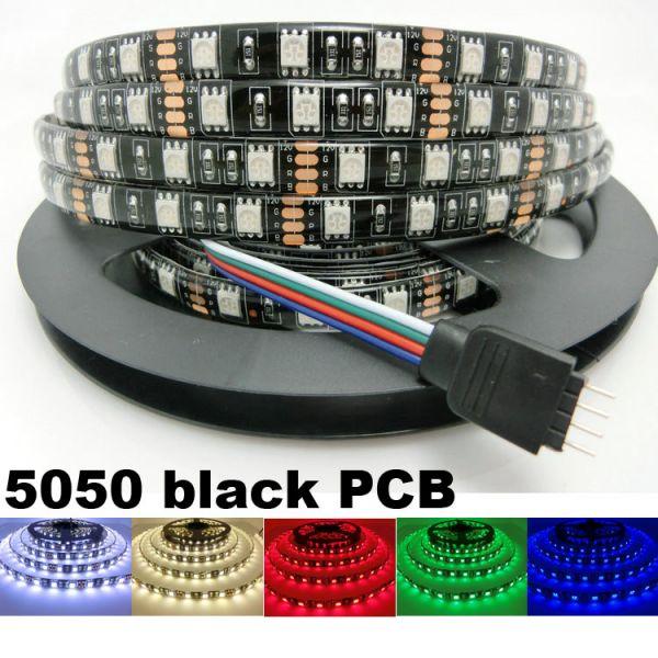 送料無料12V 5M 5050 黒ベース LEDテープライト RGB リモコン付