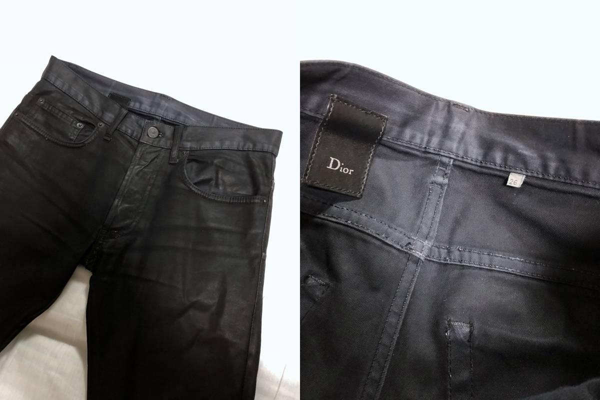 正規良 セレブ愛用! Dior Hommeディオールオム コーティングデニムパンツ黒 26 最小 XXS ナイトフォール 光沢ブラックジーンズ 8H 男女兼用_刻印 サイズタグ