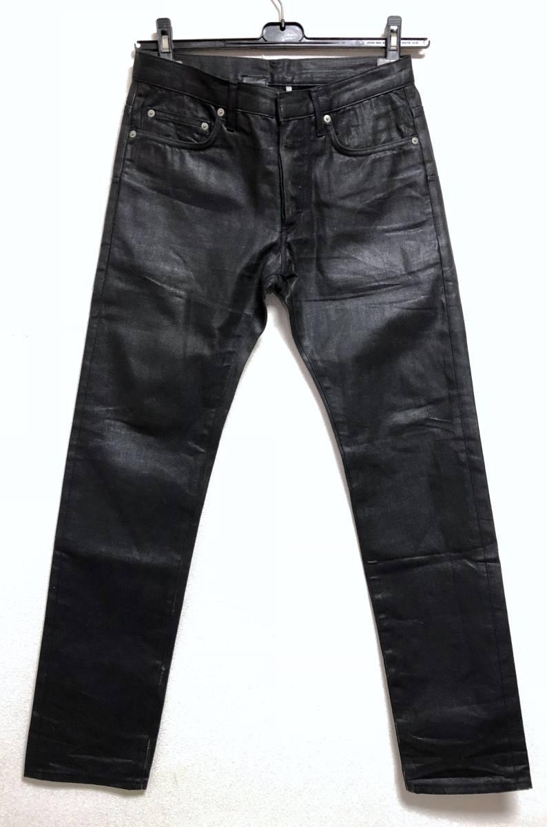 正規 エディ期 Dior Hommeディオールオム コーティングデニムパンツ黒 30 M ナイトフォール 光沢ブラックジーンズ 7H ポリウレタン樹脂加工_Dior Homme コーティングデニムパンツ★