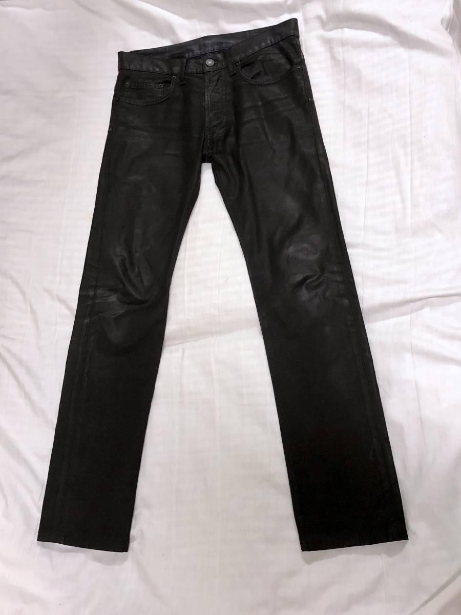 正規良 セレブ愛用! Dior Hommeディオールオム コーティングデニムパンツ黒 26 最小 XXS ナイトフォール 光沢ブラックジーンズ 8H 男女兼用_着用するだけでコーディネート全体を格上げ