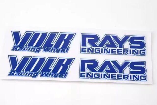 レイズ RAYS VOLK 走り屋 ホイール用 ステッカー 青 一台分 4枚セット 補修用など