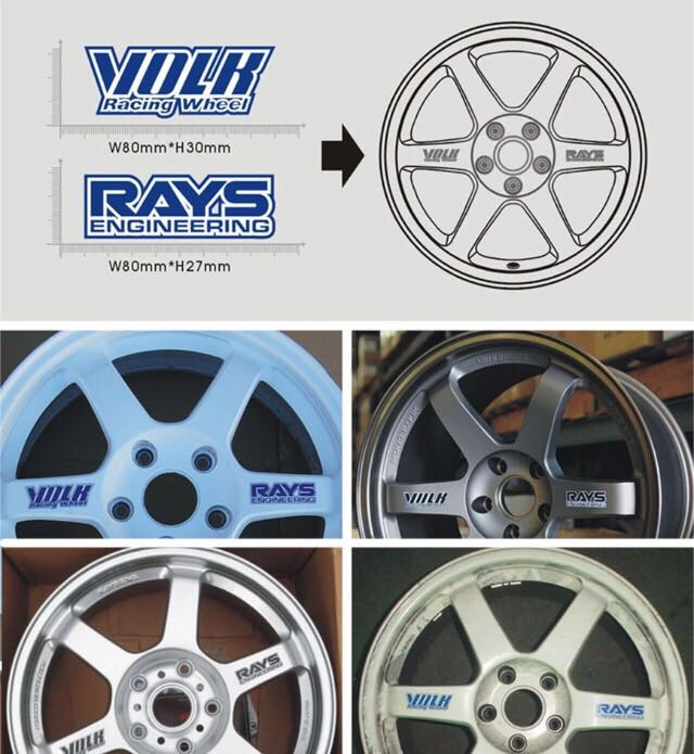 レイズ RAYS VOLK 走り屋 ホイール用 ステッカー 青 一台分 4枚セット 補修用など_画像2