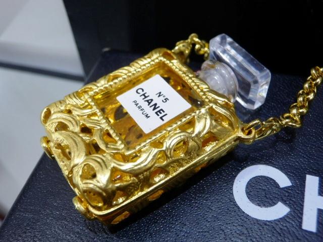 1円 CHANEL シャネル ロング ネックレス 香水 NO.5 ゴールド 未使用