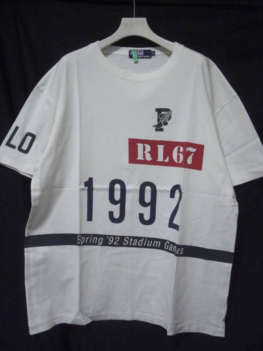 1992 POLO RALPH LAUREN ラルフローレン STADIUM 92 Tシャツ 白 L_画像1