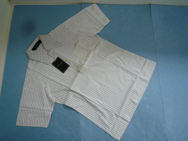 【未使用!】 ◆ Voney ◆ ポロシャツ 白×紺 ストライプ M メンズ 半袖