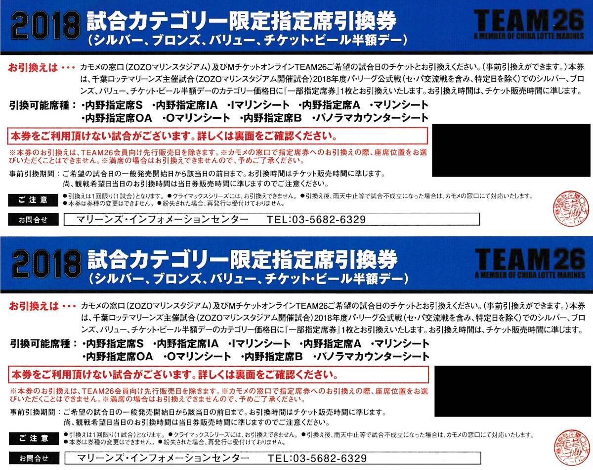 千葉ロッテマリーンズ2018試合カテゴリー限定指定席引換券2枚セット