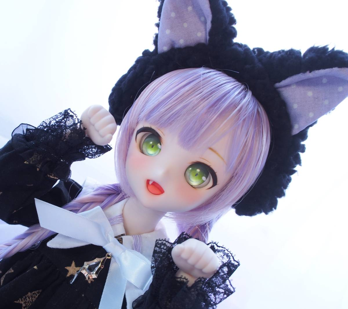 【Miel☆Magical】DDH-10 セミホワイト肌 カスタムヘッド+アイ2点+お洋服Set