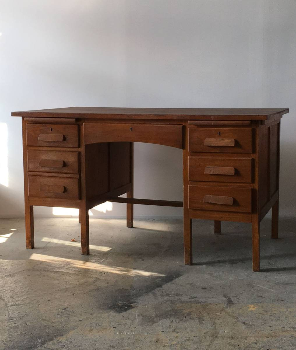 イギリス アンティーク 1940s MID CENTURY DESK オーク デスク 机 テーブル イス ビンテージ_画像1