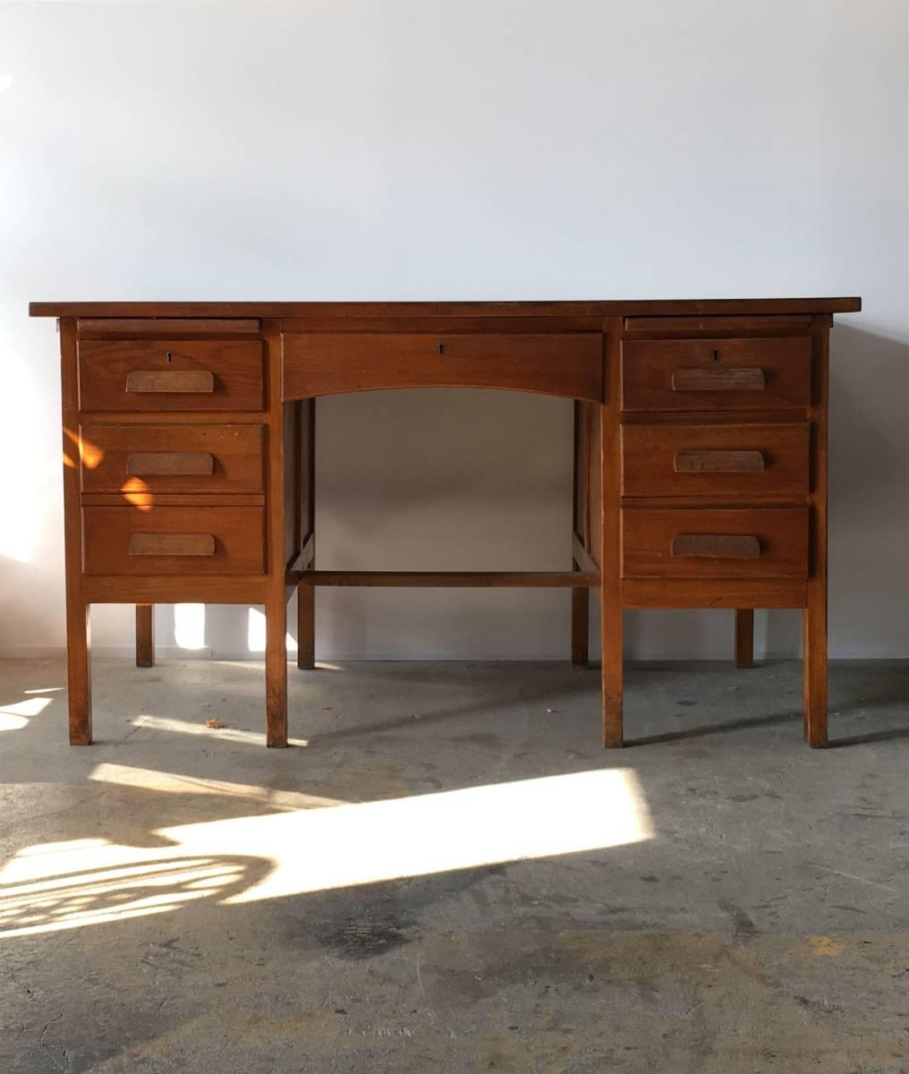 イギリス アンティーク 1940s MID CENTURY DESK オーク デスク 机 テーブル イス ビンテージ_画像4