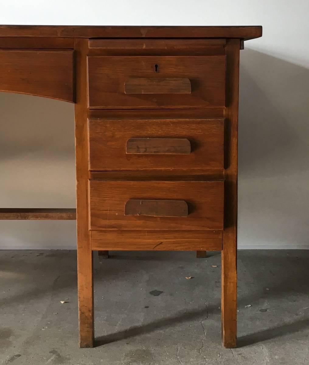イギリス アンティーク 1940s MID CENTURY DESK オーク デスク 机 テーブル イス ビンテージ_画像3