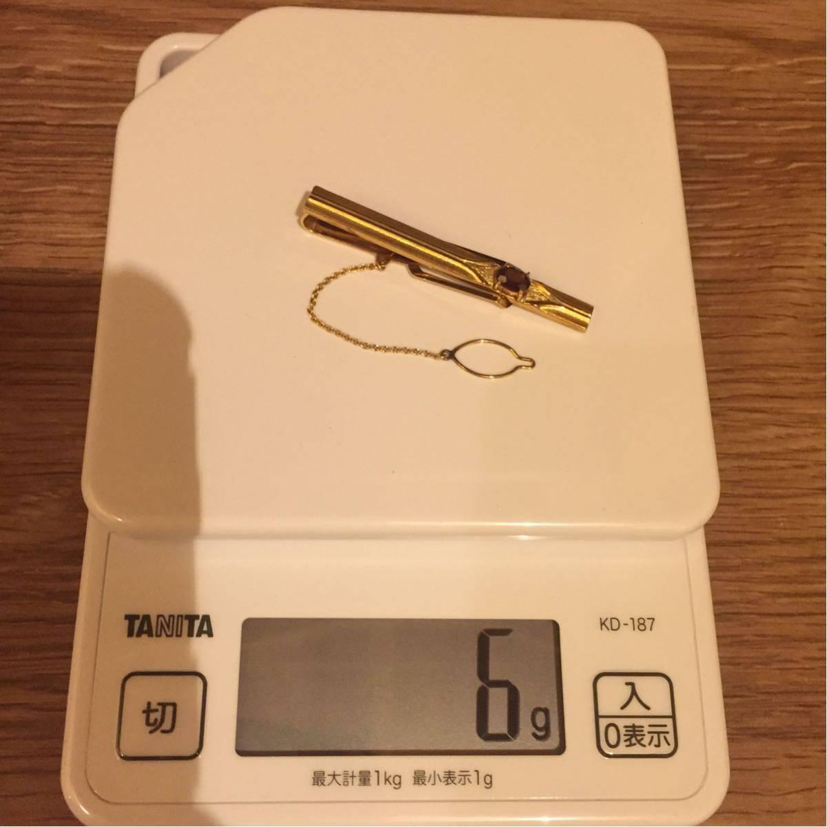 純金 K18刻印 ネクタイピン 化粧箱入り/金 ゴールド K18 18K タイピン アクセサリー/6g 6グラム 石込み/送料無料 限定 売り切り/M032