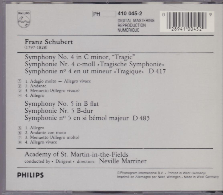 シューベルト 交響曲第4番 第5番 マリナー アカデミー室内管弦楽団【PHILIPS 水色最初期西独盤】 _画像2