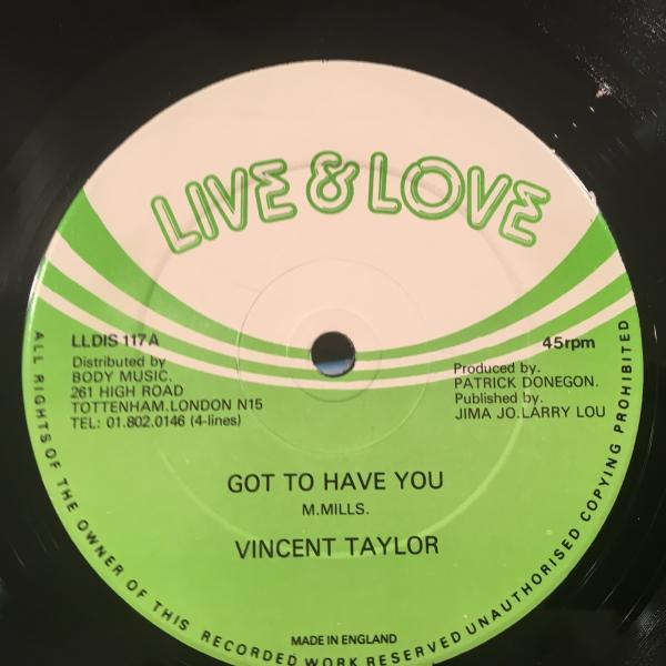 ★Vincent Taylor/Got To Have You★レアLOVERS ROCK!_画像1