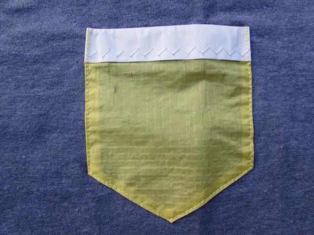 BLUE & GREEN PARADISE T-SHIRT (POCKET) / ブルー&グリーン リサイクルセイル T-シャツ(ポケット付)グレー Lサイズ_画像2