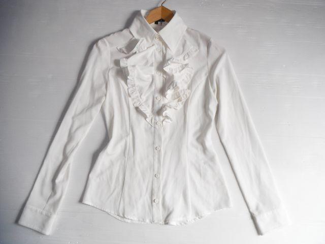 ☆rienda リエンダ☆大人可愛いフロントフリルの長袖ブラウス トップス シャツ 白ホワイト レディース☆Sサイズ_画像3