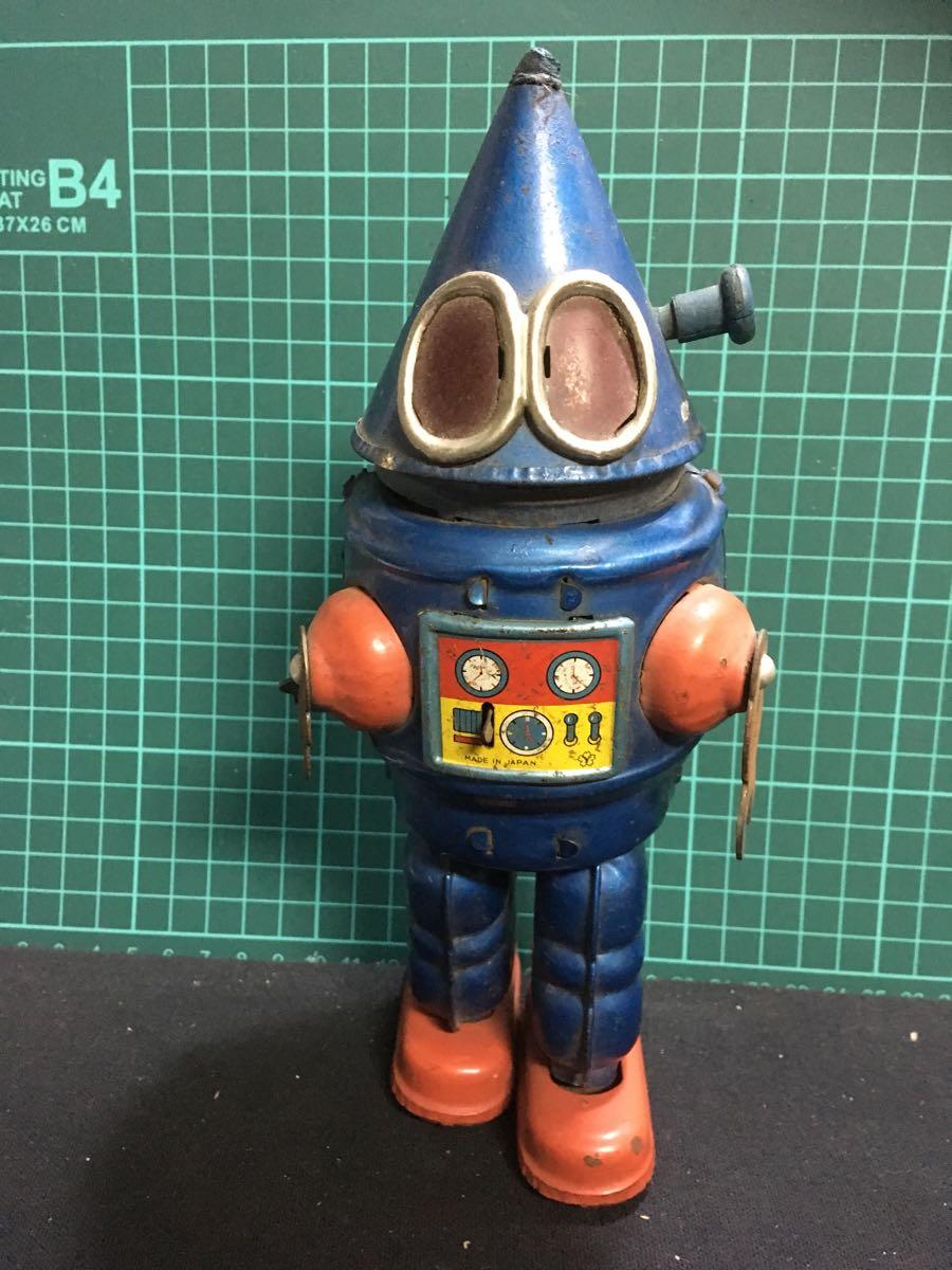 ヨネザワ 宇宙ロボット 三角ロボ コーンヘッド 少年ジェット ブリキ アンティーク ビンテージ 米澤玩具 YONEZAWA ゼンマイ 昭和 マルサン