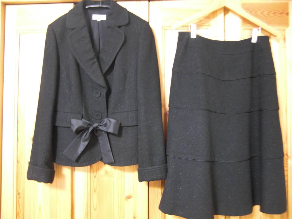 今だけ送料無料 TO BE CHIC 超美品 ツーピース スーツ サイズ40(Mぐらい) 黒 セットアップ 入学式 卒業式