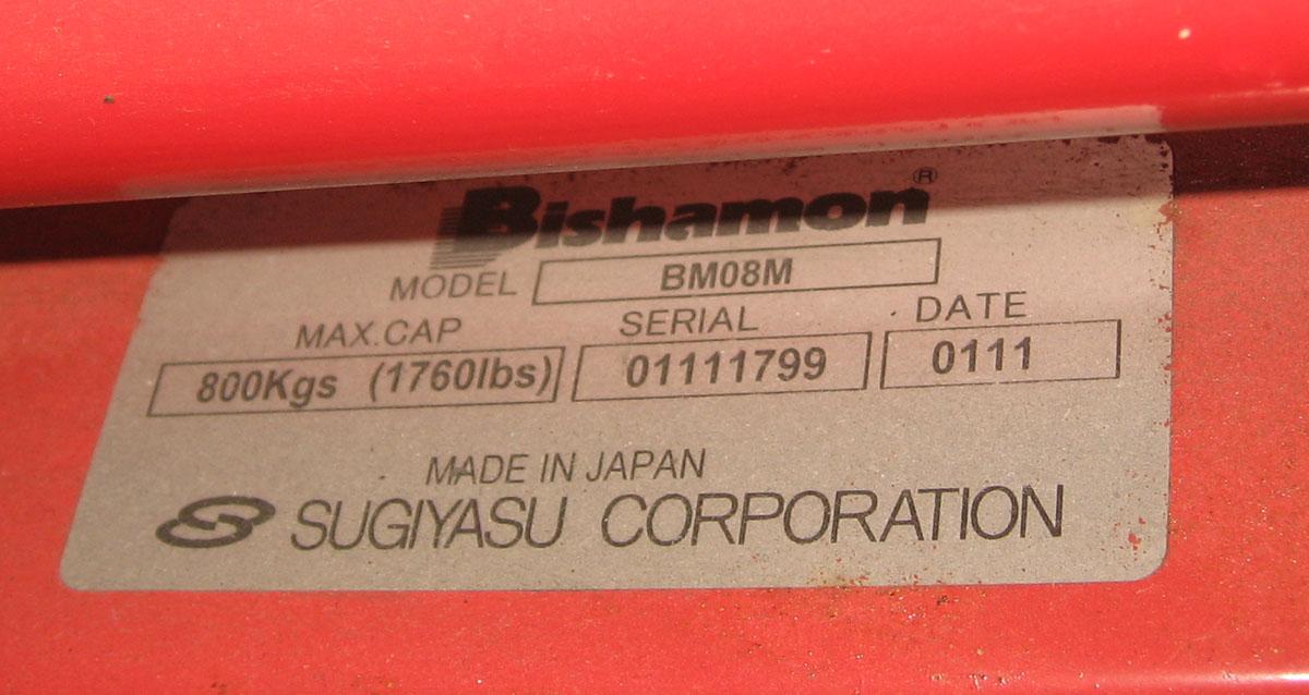 ビシャモン【Bishamon】 ハンドパレットトラック BM08M 中古_画像6