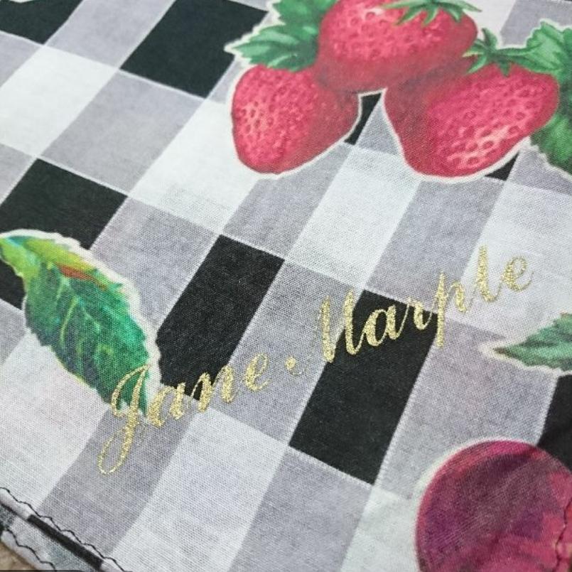 ジェーンマープル Jane Marple フルーツピクニック柄 スカーフ ストロベリー チェリー レモン ギンガムチェック_画像2