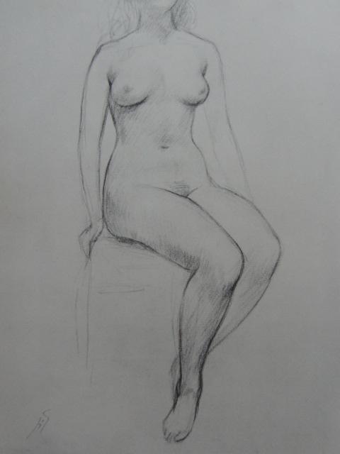 舟越 保武【座像】、裸婦、希少画集画、状態良好、新品額装付、送料無料、