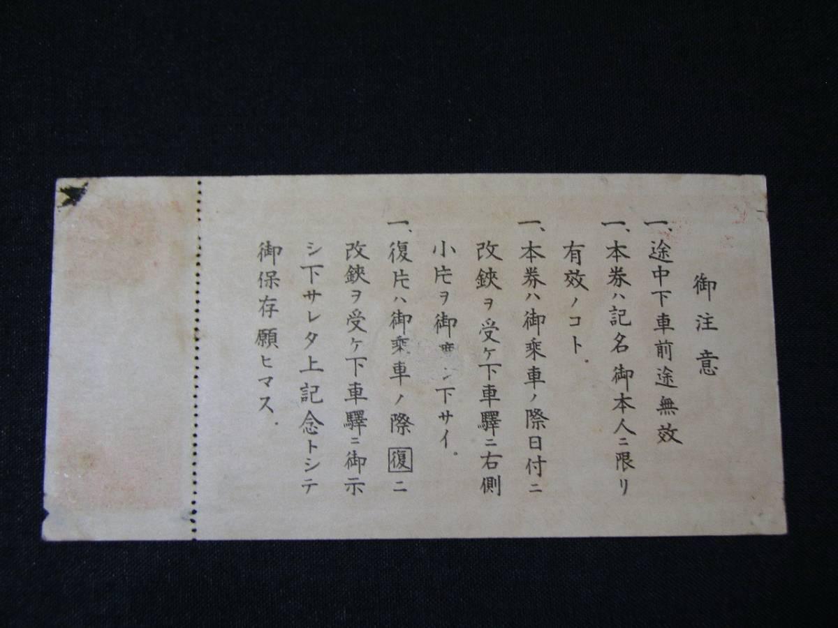 京成 戦前 上野線開通記念 特別乗車券 昭和8年 全線一往復 未使用 上野公園 京成上野_画像2