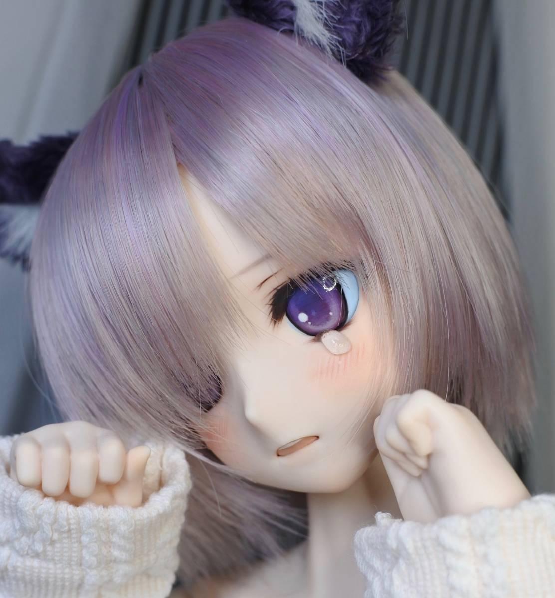 らら屋* DDH-09(開口 SW肌)カスタムヘッド&ウィッグ+α(獣耳+猫手袋+眼鏡)_画像5