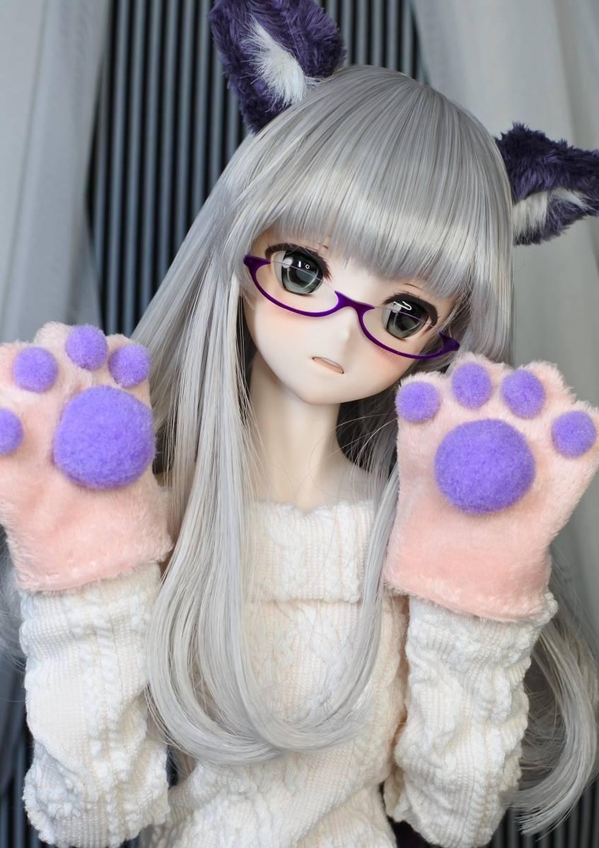 らら屋* DDH-09(開口 SW肌)カスタムヘッド&ウィッグ+α(獣耳+猫手袋+眼鏡)_画像9