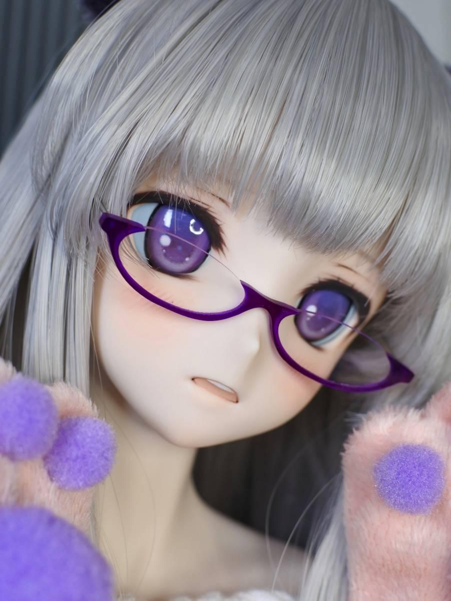 らら屋* DDH-09(開口 SW肌)カスタムヘッド&ウィッグ+α(獣耳+猫手袋+眼鏡)_画像3