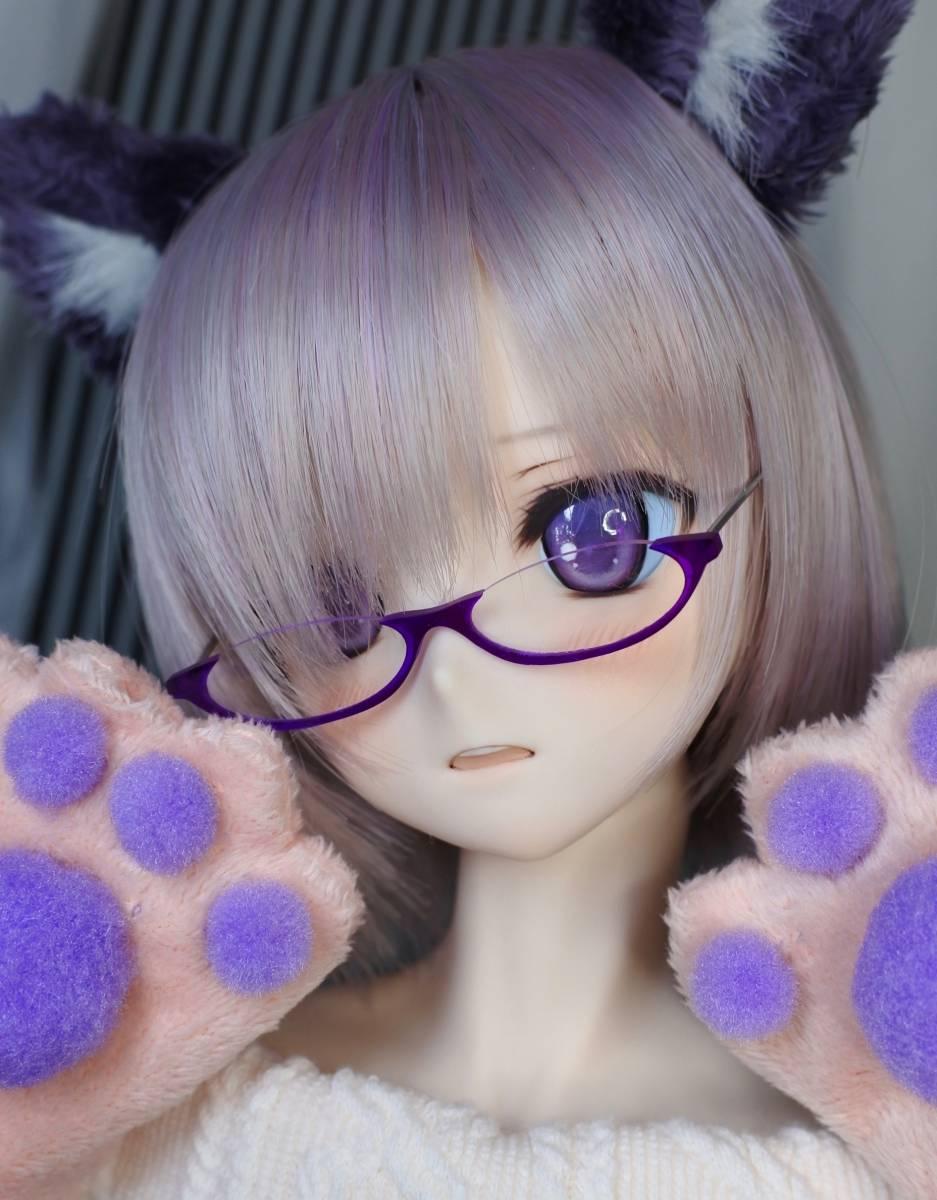 らら屋* DDH-09(開口 SW肌)カスタムヘッド&ウィッグ+α(獣耳+猫手袋+眼鏡)_画像4