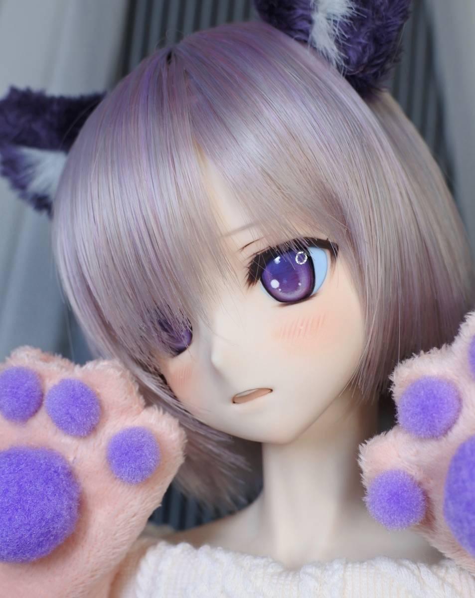 らら屋* DDH-09(開口 SW肌)カスタムヘッド&ウィッグ+α(獣耳+猫手袋+眼鏡)_画像2