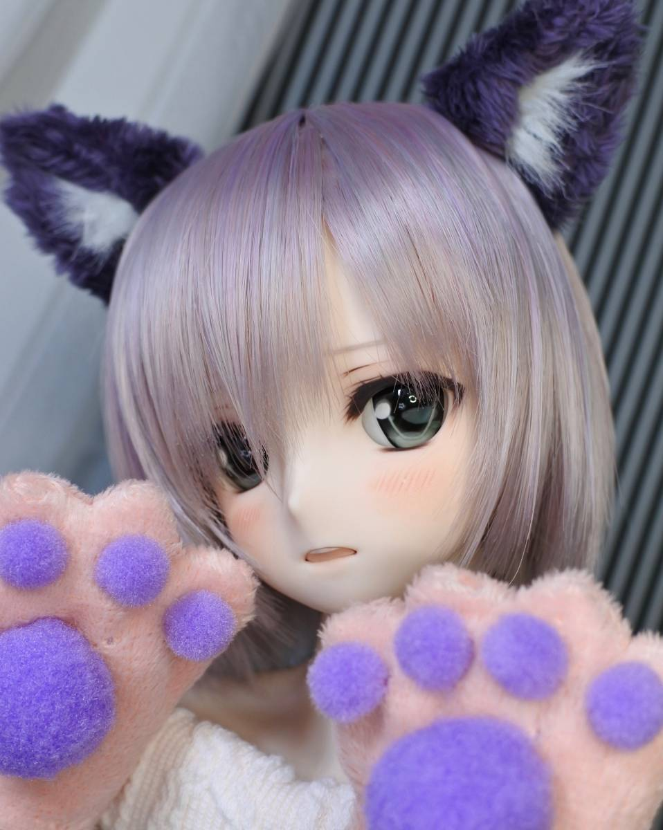 らら屋* DDH-09(開口 SW肌)カスタムヘッド&ウィッグ+α(獣耳+猫手袋+眼鏡)_画像8