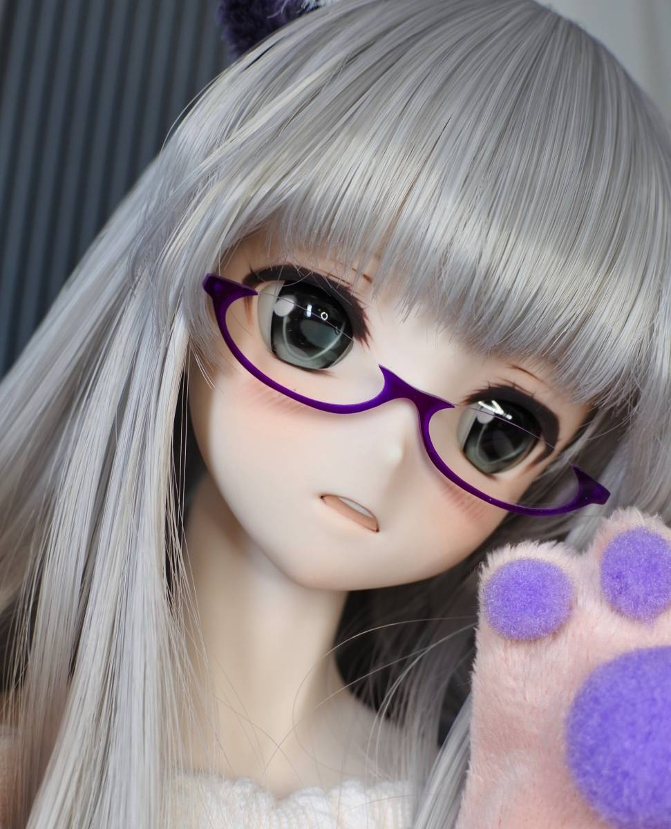 らら屋* DDH-09(開口 SW肌)カスタムヘッド&ウィッグ+α(獣耳+猫手袋+眼鏡)_画像6