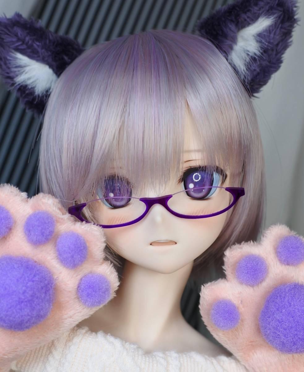らら屋* DDH-09(開口 SW肌)カスタムヘッド&ウィッグ+α(獣耳+猫手袋+眼鏡)