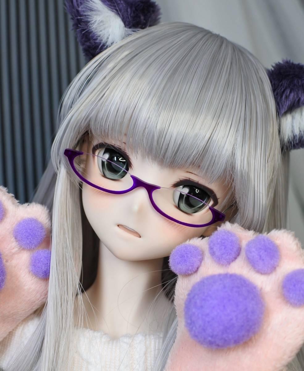 らら屋* DDH-09(開口 SW肌)カスタムヘッド&ウィッグ+α(獣耳+猫手袋+眼鏡)_画像7