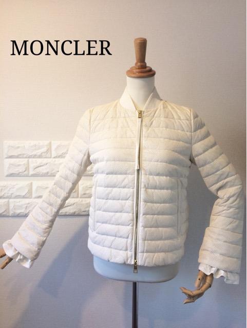 *MONCLERモンクレールスプリングコート*超高級オールリアルレザージャケット・袖フリル・爽やかライトダウン・極美品・正規品~送料無料