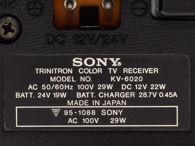 SONY/ソニー KV-6020 ブラウン管カラーテレビ 78年製 昭和レトロ アンティーク_画像6