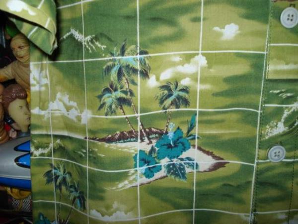 一撃落札♪古着QUIK SILVERハワイアンシャツ緑Mアロハ_画像3