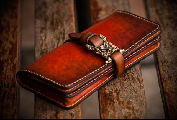 新品 メンズ長財布 限定品 最高の逸品 メンズ レザー本革 財布 手染め手縫いハンドメイド
