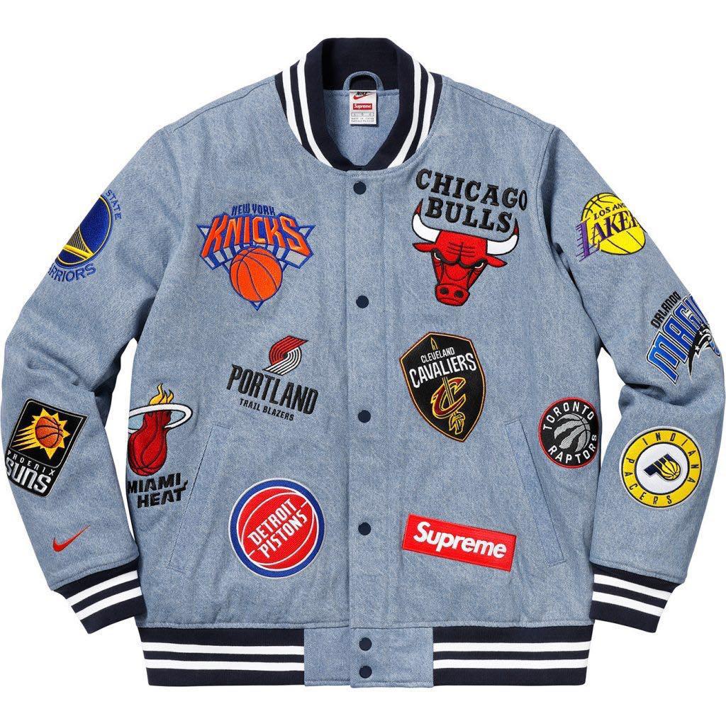 【希少色】18SS L Supreme NBA NIKE Teams Warm-Up Jacket Denim シュプリーム ナイキ ジャケット デニム large team warm up
