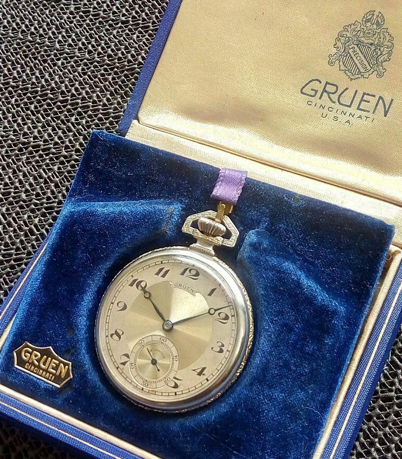 GRUEN 箱付き アンティーク 金張 アールデコ 懐中時計 グリュエン