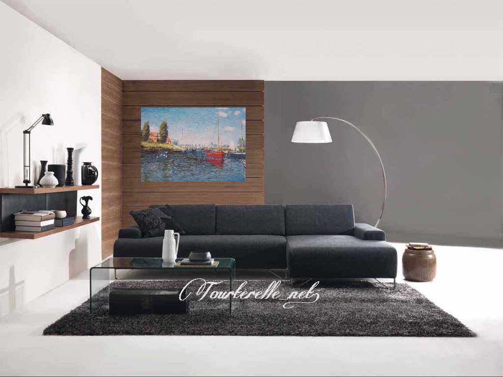 ◆Modern Art◆肉筆☆油絵☆F20号☆『モネ・アルジャントゥイユの赤いボート』☆即決あり/模写_画像2