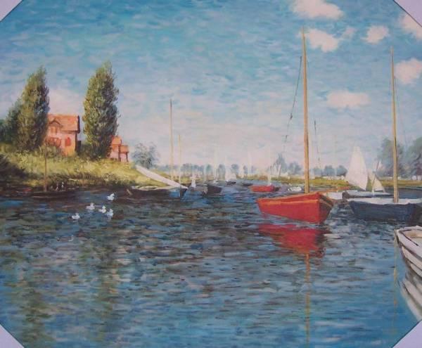 ◆Modern Art◆肉筆☆油絵☆F20号☆『モネ・アルジャントゥイユの赤いボート』☆即決あり/模写_画像1