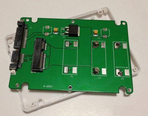 送料187円! mSATA(Mini SATA)50mm→2.5インチSATA 7mm厚 SSD変換ケース_画像1
